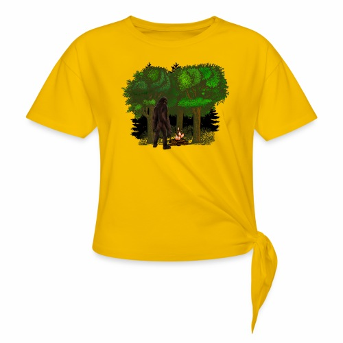 Bigfoot Campfire Forest - Women's Knotted T-Shirt