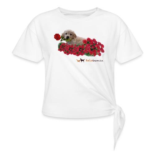 Cucciolo Golden Retriever con Rosa in Bocca - Maglietta annodata