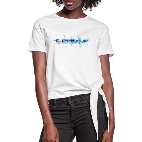 logo wave bleu fond blanc - T-shirt à nœud Femme