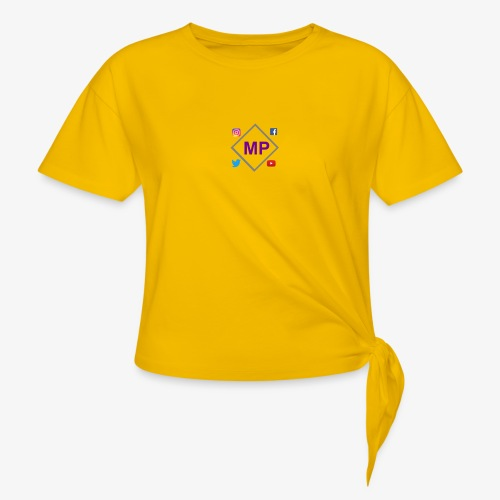 MP logo with social media icons - Knotted T-Shirt