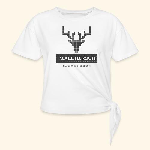 PIXELHIRSCH - grau - Knotenshirt