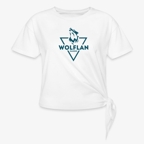 WolfLAN Logo Gray/Blue - Women's Knotted T-Shirt