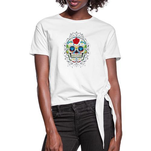Rose und Diamantschädel - Knotenshirt