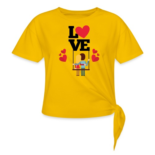 Love couple t-shirt - T-shirt à nœud Femme