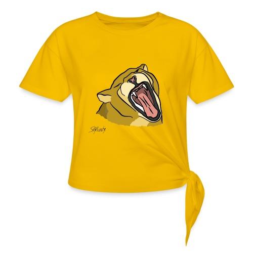 Gähnender / brüllender Löwe - Frauen Knotenshirt