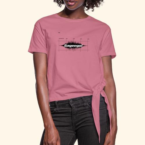 Gageego logga vit text - T-shirt med knut dam