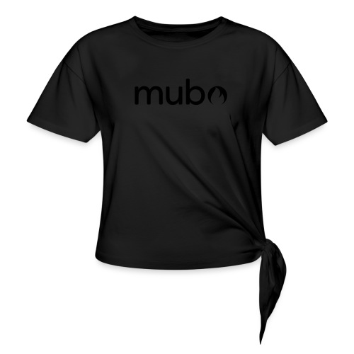 mubo Logo Word Black - Women's Knotted T-Shirt