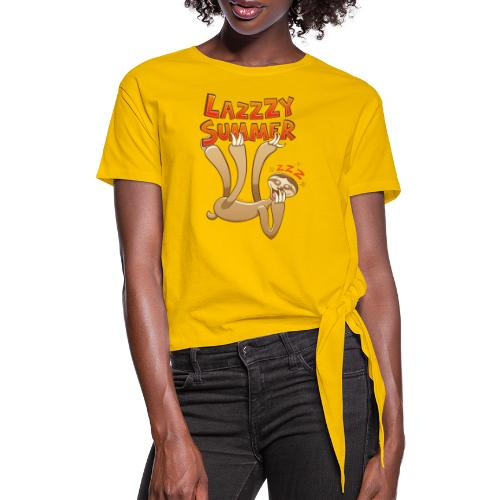 Sleepy sloth yawning and enjoying a lazy summer - Women's Knotted T-Shirt