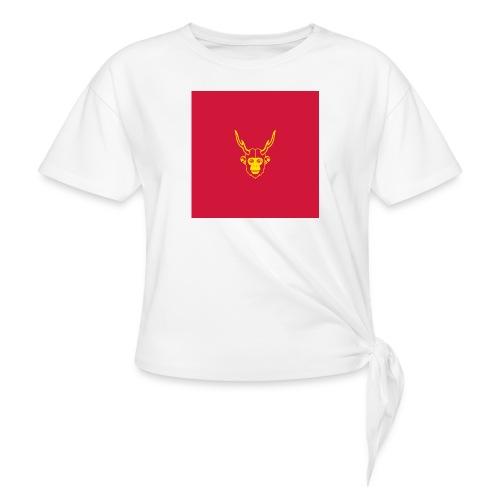 scimmiacervo sfondo rosso - Maglietta annodata da donna