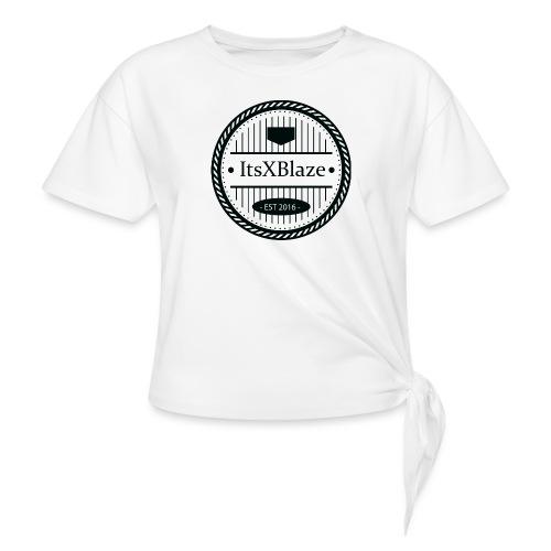 ItsXBlaze Logo 3 White V-Neck Option 2 - Geknoopt shirt