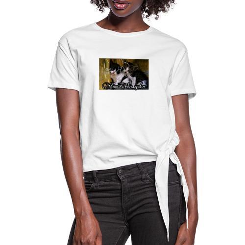 Amor por los gatos - Camiseta con nudo mujer
