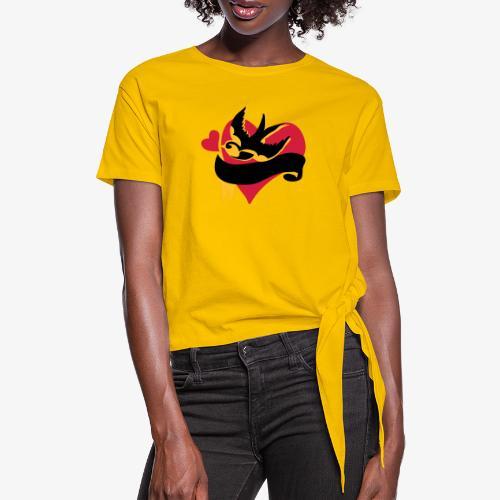 retro tattoo bird with heart - Women's Knotted T-Shirt