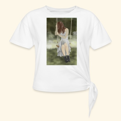 Sad Girl on Swing - Knotted T-Shirt