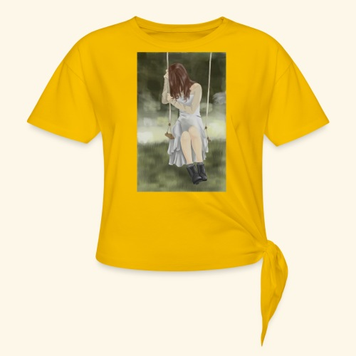 Sad Girl on Swing - Women's Knotted T-Shirt