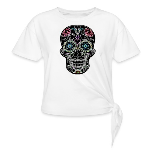 Floral Skull - Women's Knotted T-Shirt