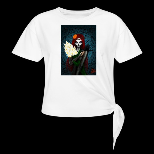 Death and lillies - Women's Knotted T-Shirt