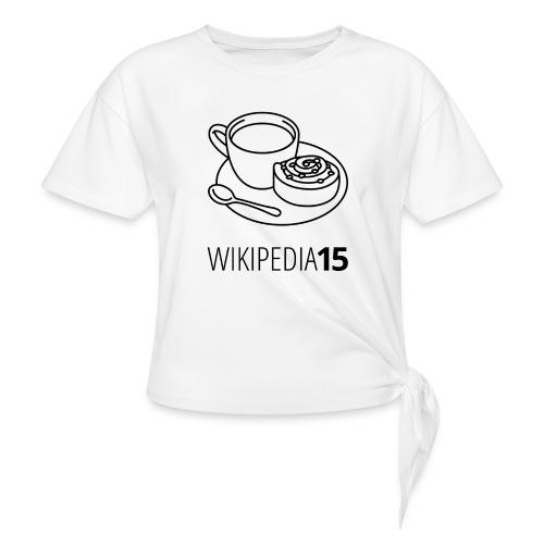Fika, figursydd, vit - T-shirt med knut