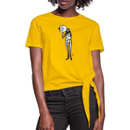 Punto di vista in bianco e nero - Maglietta annodata da donna