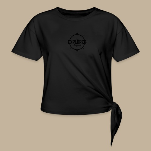 Black TEO Logo - Women's Knotted T-Shirt