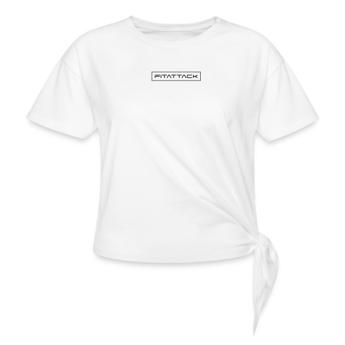 fitattack schrift rahmen eckig - Frauen Knotenshirt