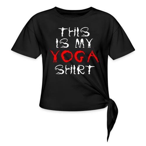 camicia yoga sport bianco spiritualità meditazione arte - Maglietta annodata da donna