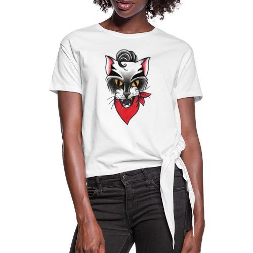 Rockabillycat - Maglietta annodata da donna