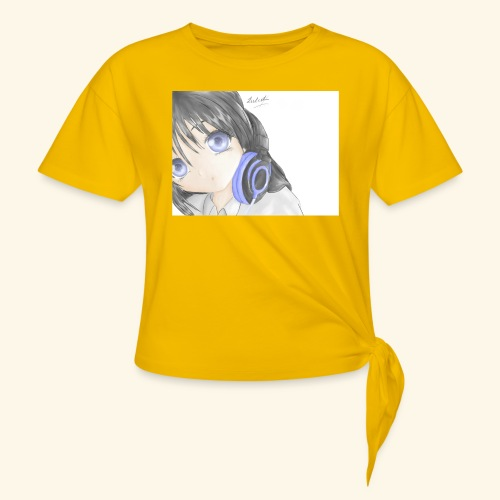Anime Girl with Headphones - Women's Knotted T-Shirt
