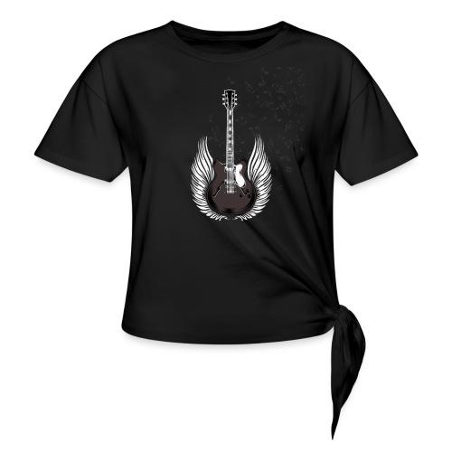 Gitarre mit Flügeln und Noten Musiker Geschenkidee - Frauen Knotenshirt