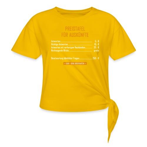 Preistafel für Auskünfte - Knotenshirt