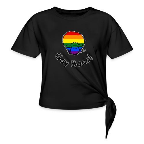 Gay Baaa! Rainbow Pride Sheep (edizione nera) - Maglietta annodata