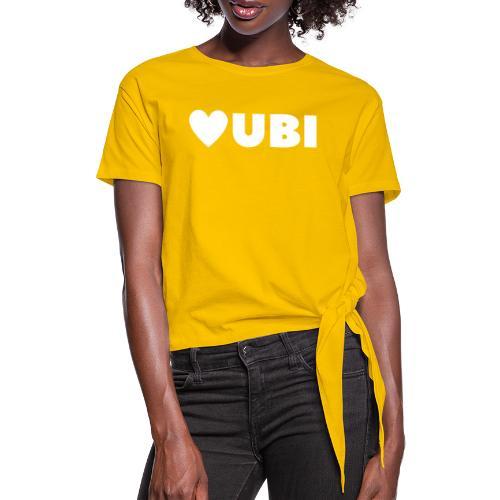 love ubi white trans - Vrouwen Geknoopt shirt