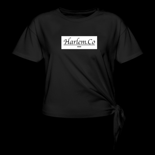 Harlem Co logo White and Black - Women's Knotted T-Shirt