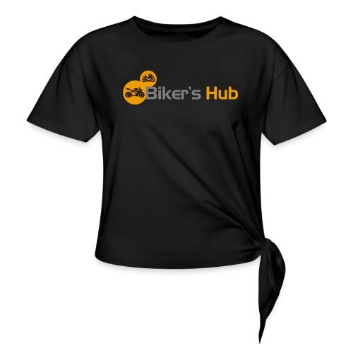 Biker's Hub Small Logo - Women's Knotted T-Shirt