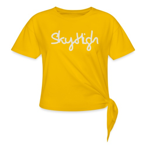 SkyHigh - Women's Hoodie - Gray Lettering - Knotted T-Shirt