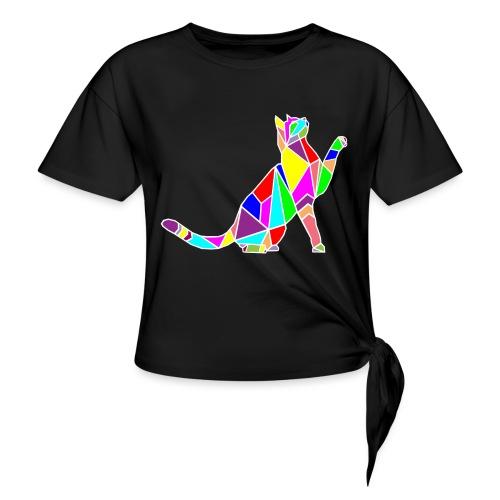 cat colors white pet animal art composicion - Maglietta annodata da donna