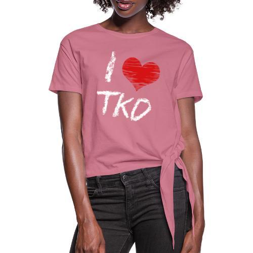 I love tkd letras blancas - Camiseta con nudo mujer
