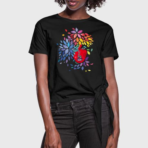 Femme cheveux de fleurs - T-shirt à nœud
