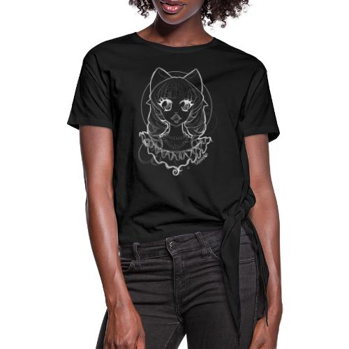 Vampier Lena (witte schets) - Women's Knotted T-Shirt