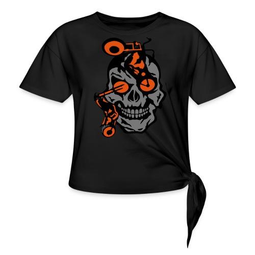 tete mort moto motrocycle oeil skull - T-shirt à nœud
