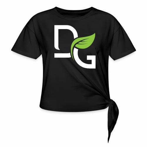 DrGreen Logo Symbol weiss grün - Frauen Knotenshirt
