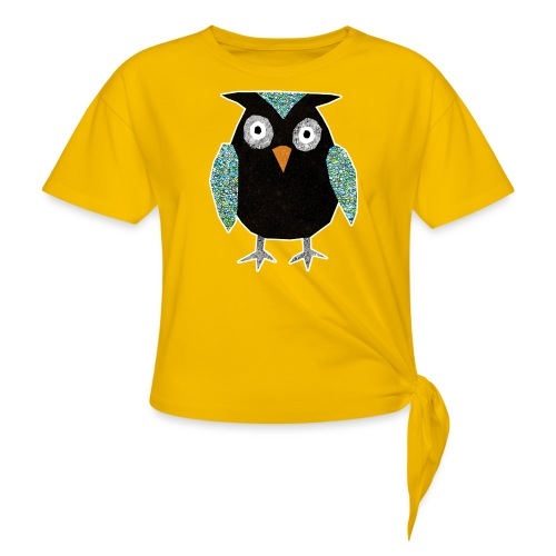Collage mosaic owl - Women's Knotted T-Shirt