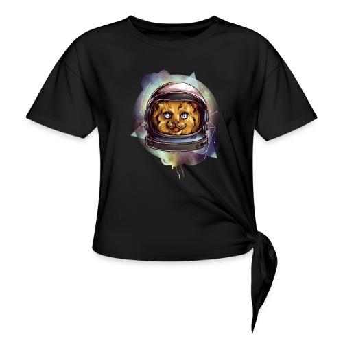 Cute astronaut kitten - Women's Knotted T-Shirt