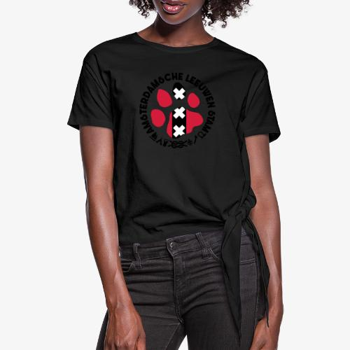 ALS witte cirkel lichtshi - Vrouwen Geknoopt shirt