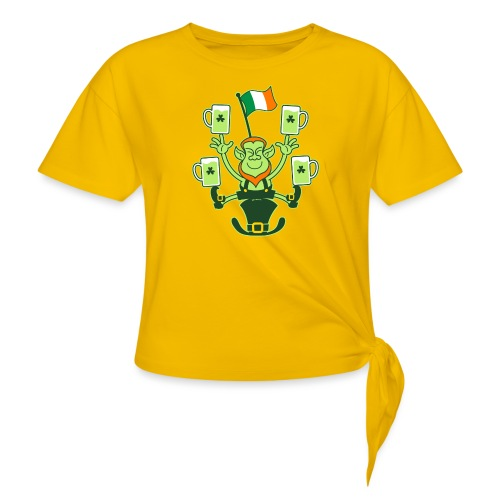 Leprechaun Juggling Beers and Irish Flag - Knotted T-Shirt