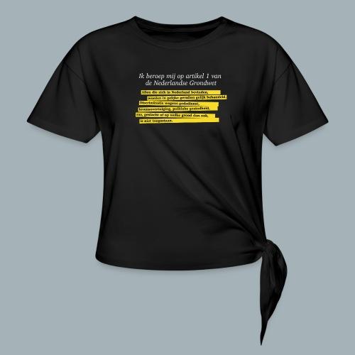 Nederlandse Grondwet T-Shirt - Artikel 1 - Vrouwen Geknoopt shirt