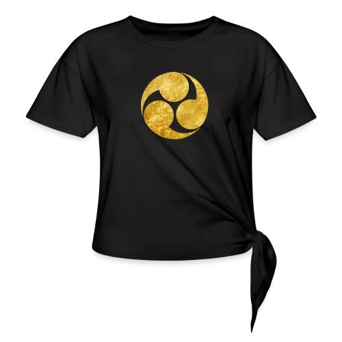 Kobayakawa Mon Japanese clan gold on black - Women's Knotted T-Shirt