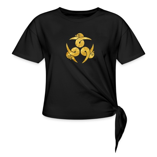 Three Geese Japanese Kamon in gold - Women's Knotted T-Shirt