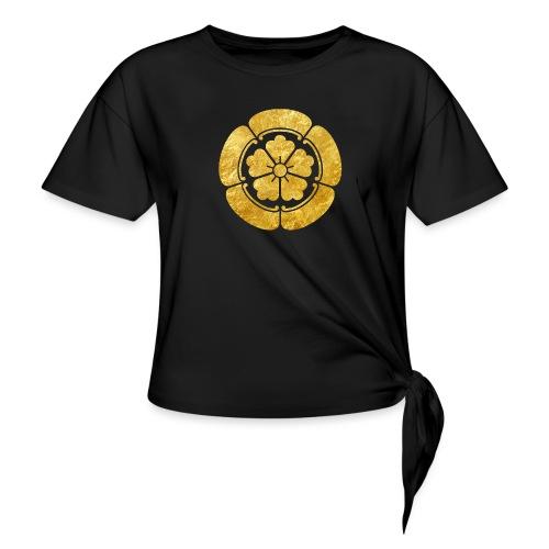 Oda Mon Japanese samurai clan faux gold on black - Women's Knotted T-Shirt