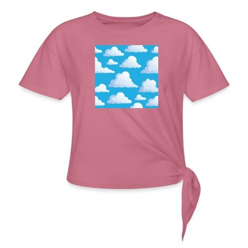 Cartoon_Clouds - Women's Knotted T-Shirt