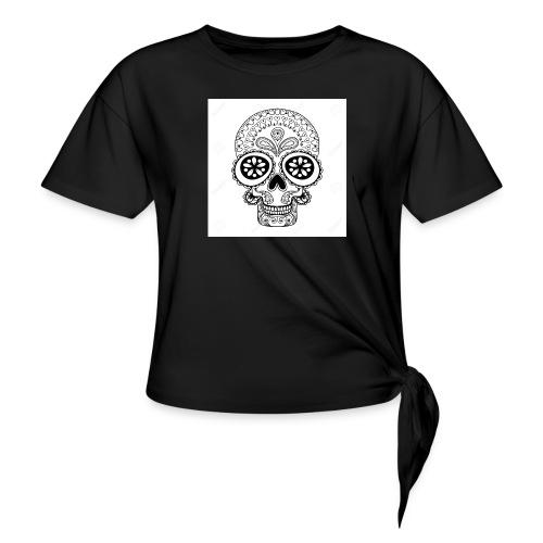 51457190 Disegno a mano Cranio in stile zentangle - Maglietta annodata